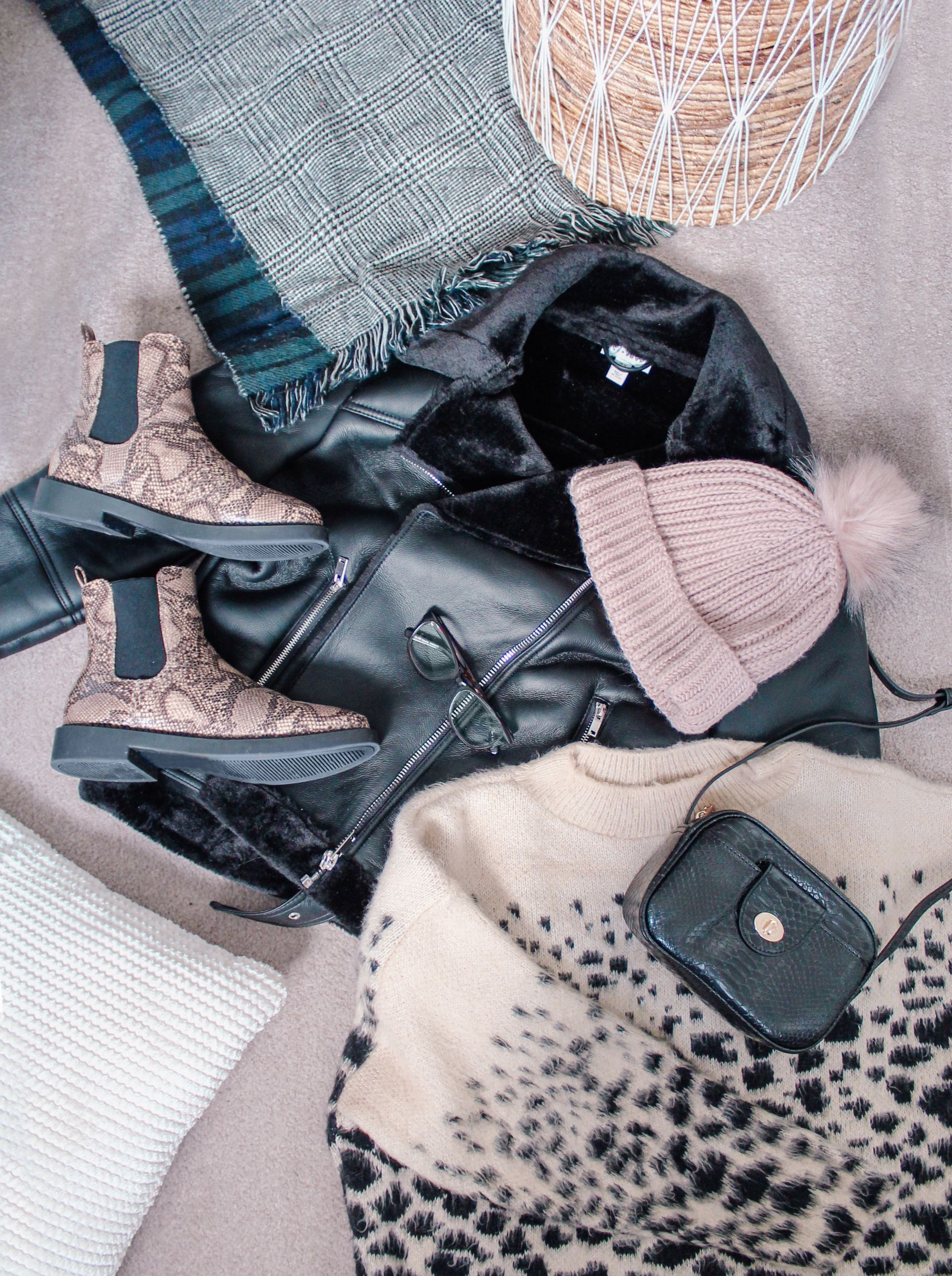 winter, fashion, flatlay