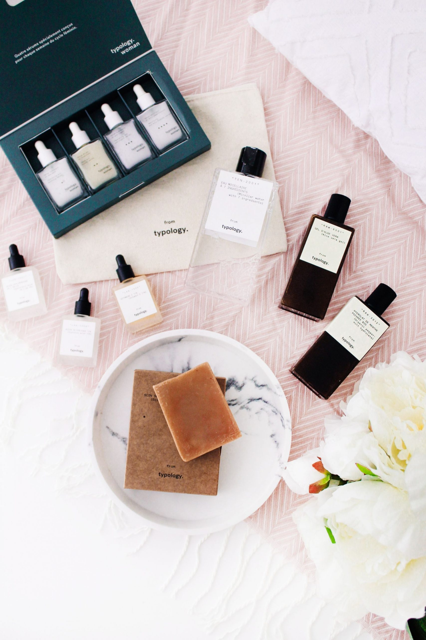 First Impressions on Typology skincare, flatlay, skincare,